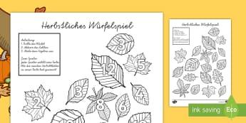 Herbstliches Würfelspiel Würfelspiel: Addieren und Anmalen - Leaf Roll and Colour Dice Addition Activity - leaf, roll and colour, dice, addition, addition activi