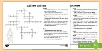 William Wallace Crossword - CfE Scottish Significant Individuals, William Wallace, crossword, William Wallace crossword, Scottis