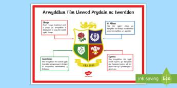 Poster Arddangos A4 Arwyddlun Rygbi Llewod Prydain ac Iwerddon - Taith y llewod, lions, rugby, rygbi, chwaraeon, sports, Cymru, Wales, British, Prydain,Welsh