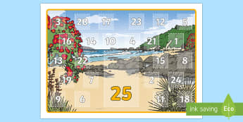 New Zealand Summer Random Acts of Kindness Calendar - Summer, Random acts of kindness, advent, calendar, religion, non-religious, non-religion, neutral
