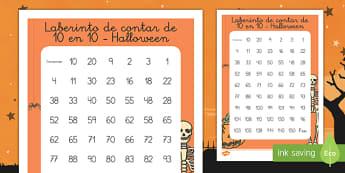 Ficha de laberinto de contar de 10 en 10 de Halloween