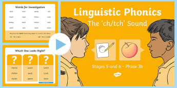 NI Linguistic Phonics Stage 5 and 6 Phase 3b, 'ch, tch' Sound PowerPoint  - Linguistic Phonics, Phase 3b, Northern Ireland, 'ch', 'tch', sound, sound search, word sort, i