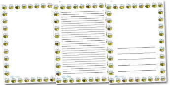 Bee Portrait Page Borders- Portrait Page Borders - Page border, border, writing template, writing aid, writing frame, a4 border, template, templates, landscape