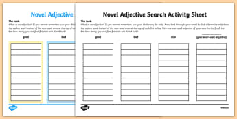 Novel Adjective Search Activity Sheet, worksheet