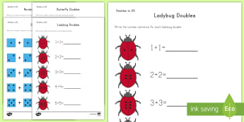 Doubles to 20 with Pictures Activity Sheets - Doubles, Doubles to 20, Doubling, Doubling to 20, 1.OAC.6, Worksheets