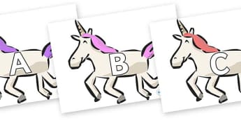 A-Z Alphabet on Unicorns - A-Z, A4, display, Alphabet frieze, Display letters, Letter posters, A-Z letters, Alphabet flashcards