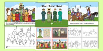 Pecyn stori Dydd Gwŷl Dewi - story, St David, Saint David, St David's Day, Saint David's Day, Wales, history