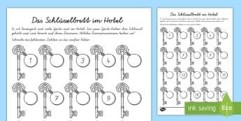 Das Schlüsselbrett im Hotel Arbeitsblatt: Erstes Zählen - Sommer, Jahreszeit, Mathematik, Zahlen, zählen, Hotel, Urlaub, summer, seasons, maths, numbers, cou