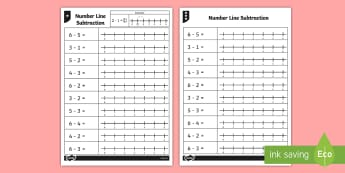 Subtraction From 6 Number Line Worksheet - numberline, subtract