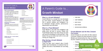 New Zealand Growth Mindset Parent and Carer Information Sheet - New Zealand, Growth Mindset, NZ, positive, positivity, belief