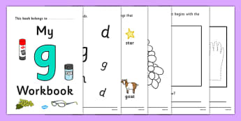 My Workbook g lowercase - workbook, g sound, lowercase, letters, alphabet, activity, handwriting, writing