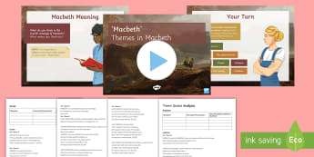Themes in Macbeth Lesson Pack - themes, macbeth, play, script, shakespeare, literature, ks4, english, english literature