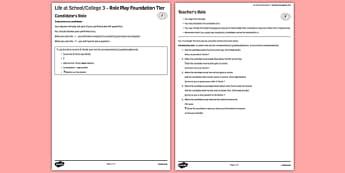 La vie scolaire 3 Jeu de rôle Foundation Tier - french, School, école, role play, foundation, speaking