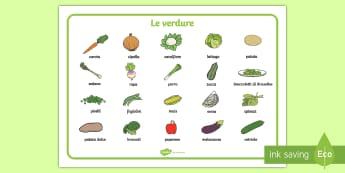 La verdura Vocabolario Illustrato - le, verdure, vocabolario, illustrato, verde, latturga, insalata, mais, broccoli, italiano, italian,