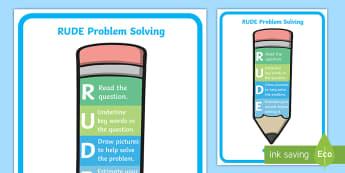RUDE Problem Solving Pencil Display Poster - ROI Numeracy - Problem Solving,Irish