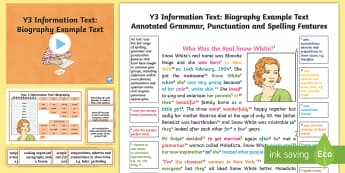 Y3 Information Texts: Biography Model/Example Text - Example Texts Y3, genre, WAGOLL, exemplar, non-fiction, text, text features, SPaG, GPS, example, exe