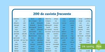 200 de Cuvinte frecvente - scriere, cuvinte frecvente, română, citire, scriere, compunere, scriere creativă, scriere funcți