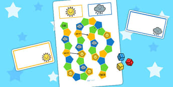 Weather Themed Editable Board Game - seasons, games, activity