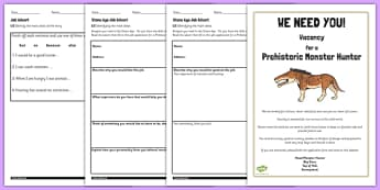 Stone Age Job Advert Worksheets to Support Teaching on Ug - ug, advert, job, worksheet