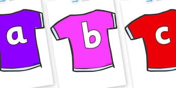 Phoneme Set on T-Shirts - Phoneme set, phonemes, phoneme, Letters and Sounds, DfES, display, Phase 1, Phase 2, Phase 3, Phase 5, Foundation, Literacy