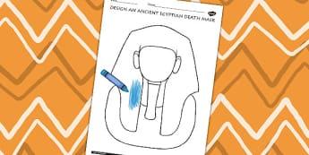 Design An Ancient Egyptian Death Mask Activity - egypt, DT, KS2