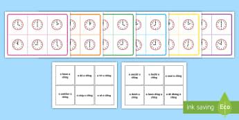 O'Clock Time Bingo Gaeilge - Requests - ROI,Time, an chlog, clog, am, an t-am, Gaeilge, Irish, clock, Irish