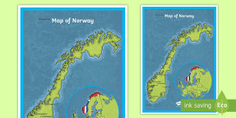 Map of Norway A4 Display Poster - CfE Social Studies resources, Norway, Norwegian map, map of Norway, geography of Norway, display map