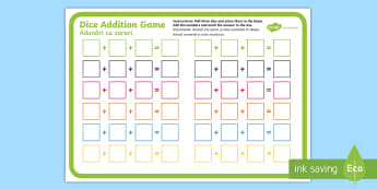 Three Dice Addition Game English/Romanian - Three Dice Addition Game - +, addition, game, add, activity, EAL, worksheet