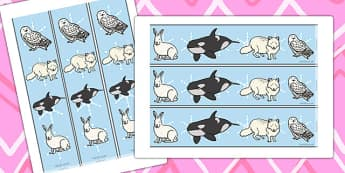 Arctic Animal Display Borders - arctic, animals, animal, arctis, display, borders, classroom border, border, arctic hare, polar bear, penguin, seal