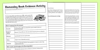 Domesday Book Evidence Activity - domesday book, evidence, activity, domesday, book