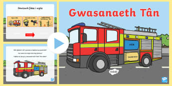 Pŵerbwynt Fideo Gwasanaeth Tân - Wythnos Genedlaethol Diogelwch Tân, National School's Fire Safety Week, fire, tan, tân, fireman,
