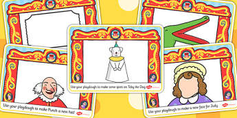Punch and Judy Playdough Mats - playdough, mats, punch, judy