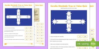 Eureka Stockade True or False Pop Quiz -  ACHASSK108, History, Gold Rush, charles hotham, james scobie, mine, mining,Australia