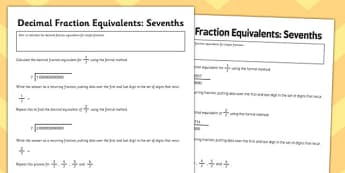 Year 6 Decimal Equivalents Sevenths Activity Sheet - Key Stage 2, KS2, Maths, Decimals, worksheet