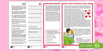 Saint Valentine's Day Differentiated Reading Comprehension Activity - KS2, Valentine's Day, reading comprehension, festivities, events