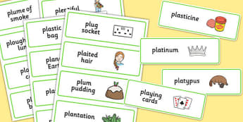 Three Syllable PL Sound Word Cards - sen, sound, sl sound, sl, sen, three syllable, word cards