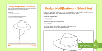 Design Modifications to a School Hat Group Activity - Australia YR 3 and 4 Design Technology, design and technologies, design modifications, modifications
