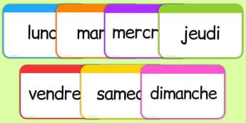 Les jours de la semaine Flashcards French - french, days, week, days of the week, flashcards, flash cards