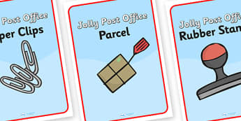 Jolly Post Office Role Play Display Posters to Support Teaching on The Jolly Postman - jolly, post, office, post office, display, posters, post office posters, posters for display, office signs