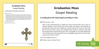 Graduation Mass Gospel Reading Print-Out - mass, graduation, bible, gospel, reading, ceremony,Irish