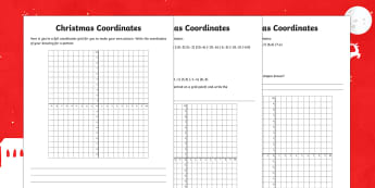 Year 6 Describe Positions on the Full Coordinates Grid Christmas Activity Sheets