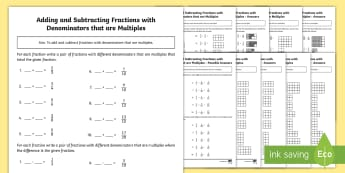 Year 5 Adding and Subtracting Fractions with Denominators That are Multiples Differentiated Activity Sheets - KS2, Maths, Year 5, Y5, add and subtract fractions with the same denominator and denominators that a