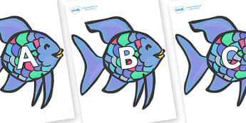 A-Z Alphabet on Rainbow Fish to Support Teaching on The Rainbow Fish - A-Z, A4, display, Alphabet frieze, Display letters, Letter posters, A-Z letters, Alphabet flashcards