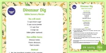Dino Dig Edible Sensory Recipe - inosaurs, fossils, bones, exploration, sensory, digging, palaeontology, palaeontologist, archaeologi