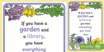 Floral Inspirational Quote by Cicero Display Poster - Classroom, Display, Floral, flower, plants, petal, vines, quote, inspiration, motivation