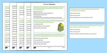 Transition Scenarios - transition, independence, change, ks2, ks3, primary, secondary, new school, new starters, progression