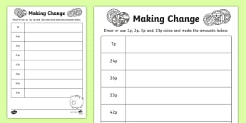 Making Change: 1p, 2p, 5p and 10p coins Activity Sheet - NI KS1 Numeracy, money, value, amount, 1p, 2p, 5p, 10p, coins, change, homework, worksheet, home lea