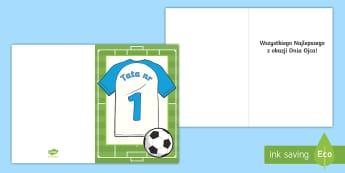 Szablon kartki Dzień Ojca Motyw piłkarski - tata, ojciec, ojca, dzień, czerwiec, czerwca, dnia, kartka, życzenia, piłka, nożna, piłkarska,
