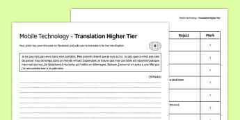 La technologie mobile Traduction Higher Tier - french, Translation, Higher, Traduction, Technology, Technologie