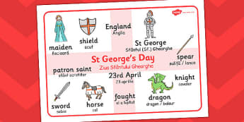 St. George's Day Word Mat Romanian Translation - Romanian, mat